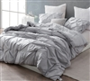Gray Oversize King Comforter Beautiful Pin Tuck Design Stylish Glacier Gray King XL Bedding