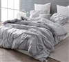 Oversized Twin XL, Full XL, Queen, or King Comforter in Easy to Match Gray Pin Tuck Design