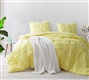 Cozy Microfiber Unique Yellow Pin Tuck Textured Extra Large Twin, Full, Queen, or King Comforter