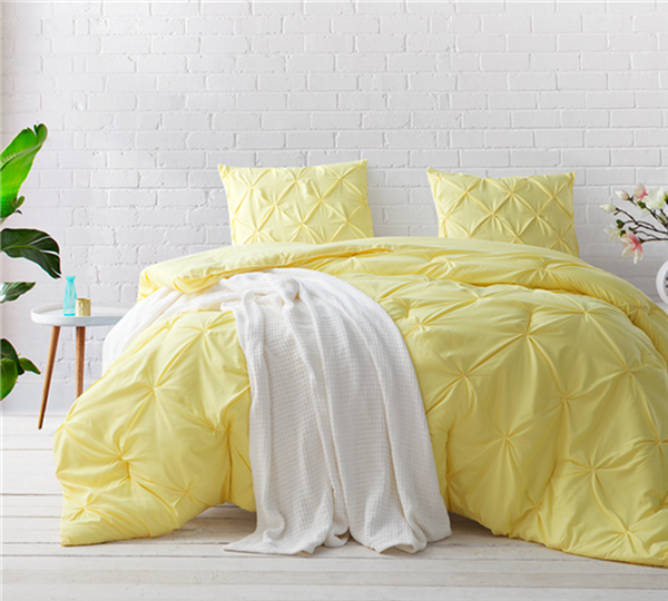 Stylish Limelight Yellow Oversized King Bedding Beautiful King XL Comforter with Elegant Pin Tuck Design