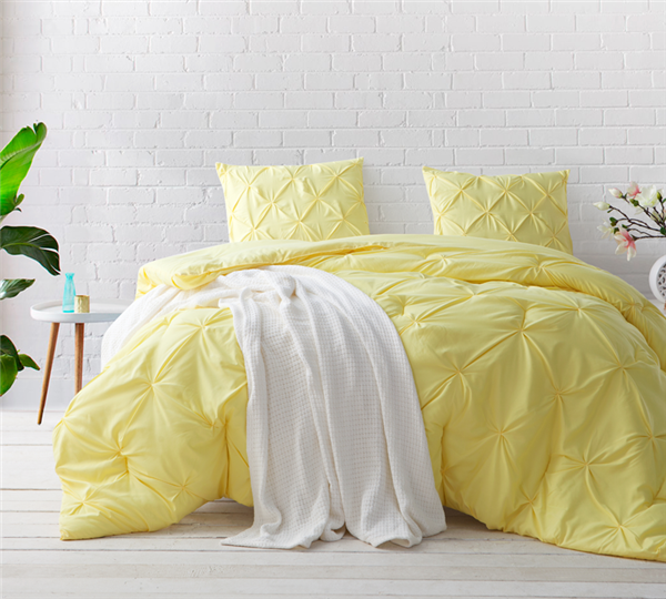 Limelight Yellow Pin Tuck Queen Comforter Oversized