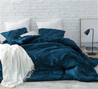 Stylish Navy Blue Pin Tuck Extra Large King Comforter with Super Soft Microfiber and Thick Inner Fill