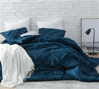 Coziest Oversized Twin XL, Full XL, Queen, or King Comforter with Fashionable Navy Blue Pin Tuck Design