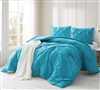 Peacock Blue Pin Tuck Comforter - Oversized Bedding
