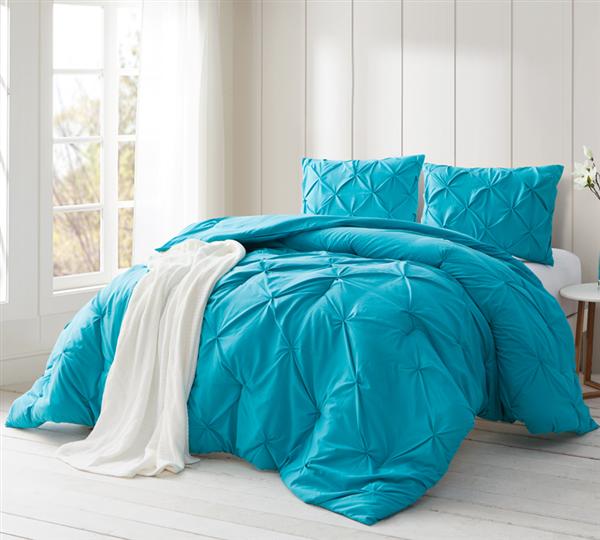 Peacock Blue Pin Tuck Queen Comforter Oversized Queen Xl