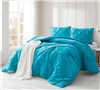Comfortable Extra Long Twin Bedding One of a Kind Peacock Blue Twin XL Oversize Comforter with Beautiful Pin Tuck Design