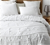 Fashionable White Textured Oversized Twin XL Bedding with Soft High-Quality Cotton Material