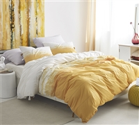 Bright Yellow and White Soft Cotton Ombre Design Unique Extra Large Queen Duvet Cover