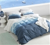 Easy to Clean Machine Washable Oversized King Duvet Cover in Stylish Blue and White Ombre Design