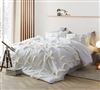 Oversized Queen Comforter in Easy to Match White with Stylish Off-White Fur Textured Details