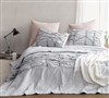 Stylish Textured Extra Large Queen Comforter in Easy to Match Light Gray and Soft Cotton Inner Fill