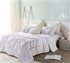 Super Soft Microfiber Exterior with Cozy Cotton Fill Stylish White Textured Extra Large Queen Comforter