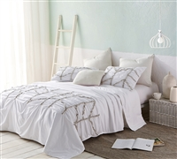 Alexandra Textured Twin Comforter - Oversized Twin XL - White