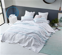 Extra Large King Comforter with Unique Gray and Teal Textured Ribbon Detailing and White Cotton Exterior