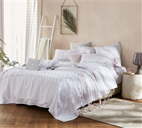 Threads Textured Twin Comforter - Oversized Twin XL - Gray/Pink