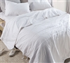 Stylish White Oversized King Comforter with Unique Removable Ribbons and Super Soft Cotton Material