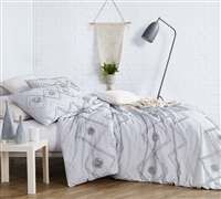 Ruffled Chevron Textured Twin Duvet Cover - Oversized Twin XL - Glacier Gray