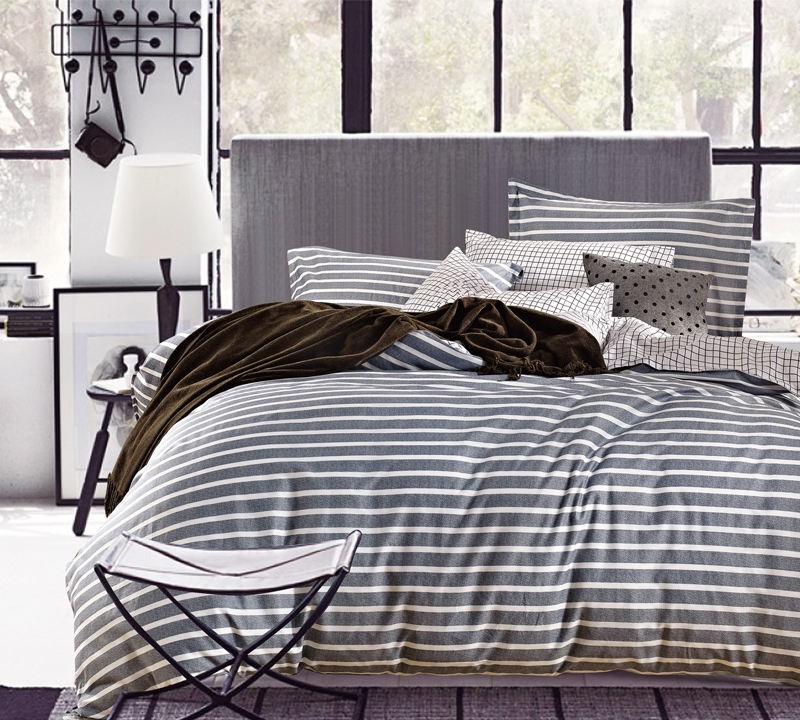 Classic Gray Stripes Queen Sheets