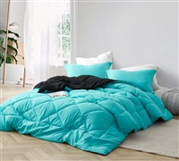 Extra Large Full Comforter with Reversible Aqua and Black Material and Stylish Matching Shams Included