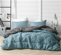 Fashionable Blue or Neutral Gray Reversible Extra Large Full Comforter Set with Stylish Matching Shams