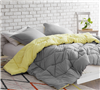 Comfortable Full XL Bedding Essential Reversible Extended Full Comforter Limelight Yellow/Alloy Gray