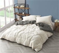 Neutral Reversible Oversized Twin XL Comforter with Comfy Microfiber in Off-White or Stylish Gray