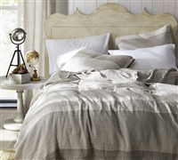 Rustica Portugal - Soft Denim Stone Washed Queen Quilt - Taupe