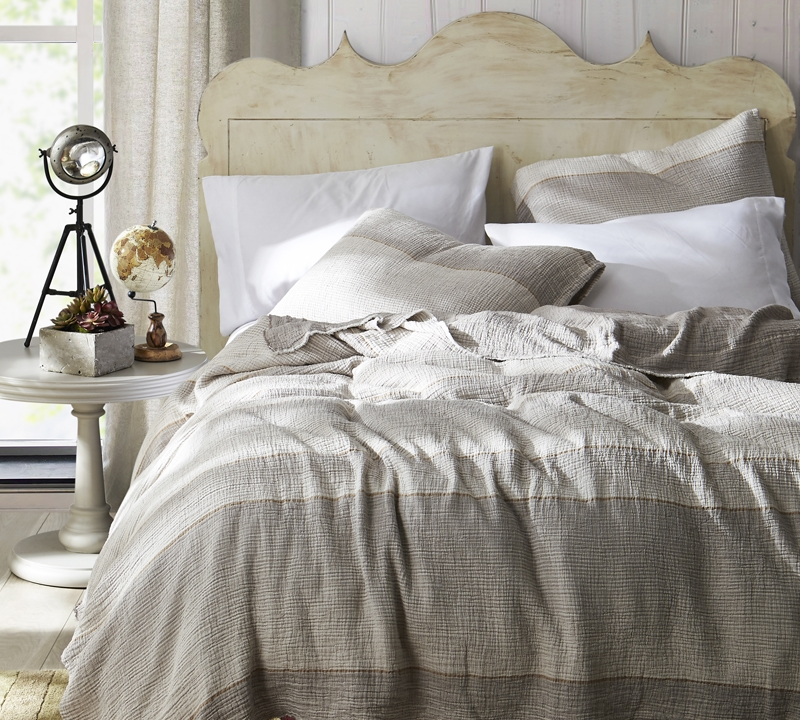 Twin XL Quilt Rustica Portugal   Soft Denim Stone Washed   Taupe