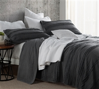 One of a Kind Stylish Ruffled Stone Washed Twin XL Oversize Quilt Pewter Gray Extra Long Twin Bedding