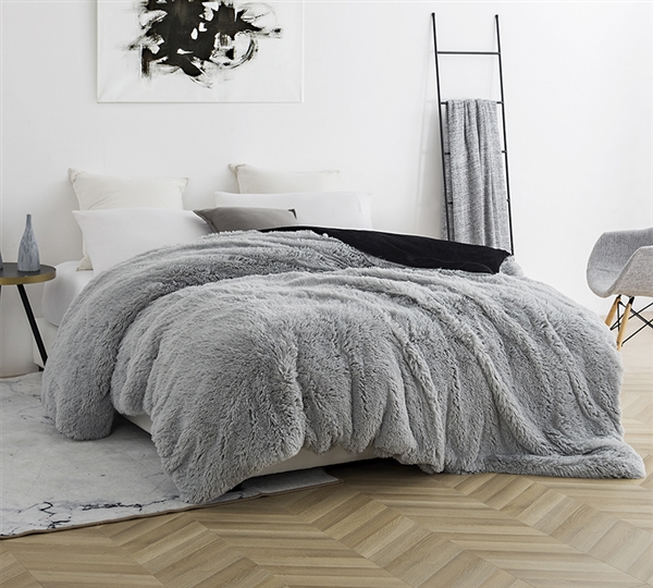 Thick Wild Plush King Gray Duvet Cover with a Black Reverse Color