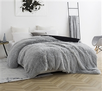 Gray & Black Coma Inducer Duvet Cover in Queen Size made with Thick, Wild Plush