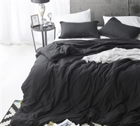 Duvet Cover Black Supersoft Bedding - Queen