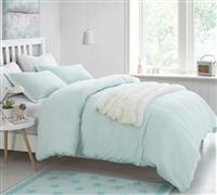 Essential Queen Oversize Duvet Cover Stylish Hint of Mint Comfortable Supersoft Extended Queen Bedding