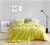 Extra Cozy Microfiber King Duvet Bed Set in Stylish Bright Yellow with Two Matching Shams