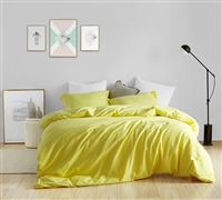 Machine Washable Super Soft Microfiber Oversized Twin XL Duvet Cover in Stylish Vibrant Yellow