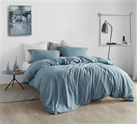 Stylish Blue Bed Set with Matching Shams in Super Soft Microfiber Oversized Queen Duvet Cover