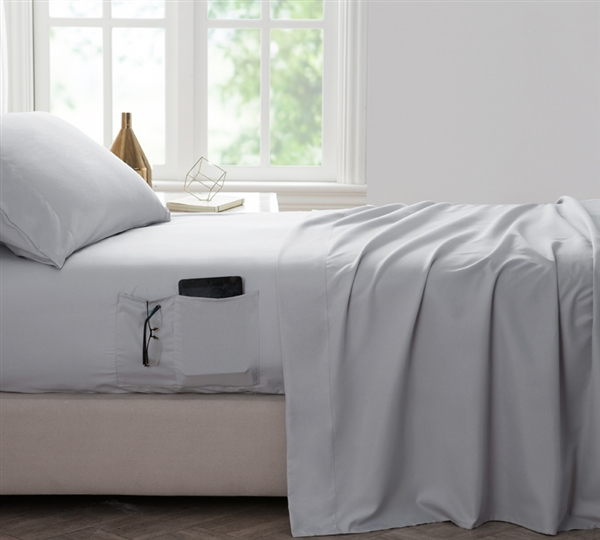Bedside Pocket King Sheet Set - Supersoft Glacier Gray