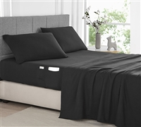 Bedside Pocket Queen Sheet Set - Supersoft Black