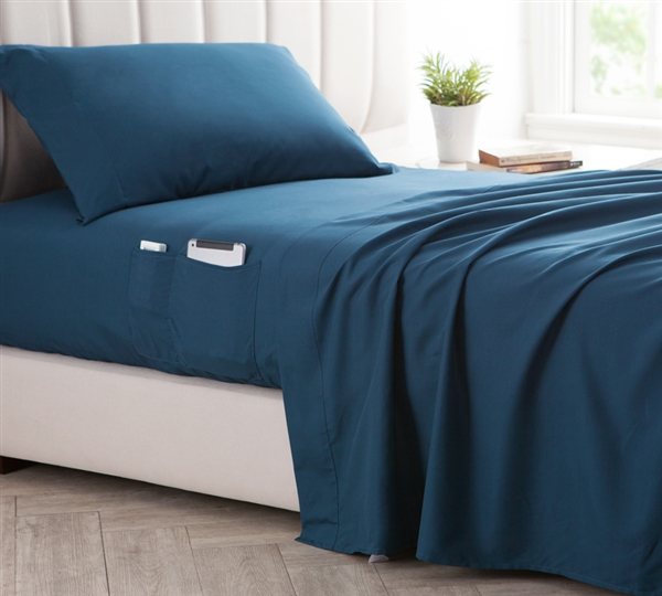 Bedside Pocket Queen Sheet Set - Supersoft Nightfall Navy