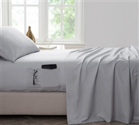 Bedside Pocket Twin XL Sheet Set - Supersoft Glacier Gray