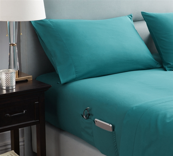 Bedside Pocket Twin XL Sheet Set - Supersoft Ocean Depths Teal