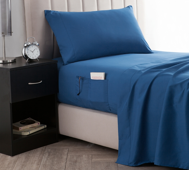 Bedside Pocket Twin Xl Sheet Set Supersoft Pacific Blue