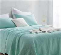 Oversized Extra Long Twin Quilt Softest Stone Washed Hint of Mint Green Essential Twin XL Extended Bedding