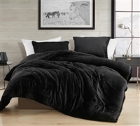 Extra Large King Comforter with Super Soft Plush and Thick Polyester Fill in Stylish Easy to Match Black