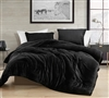 Softest Plush and Thick Polyester Fill Extra Large Queen Comforter in Stylish Easy to Match Black Shade