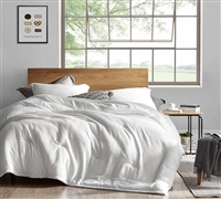 Oversized King Comforter with Thick Polyester Fill and Warm Plush Material in Easy to Match White Color