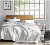 Oversized Twin XL Comforter with Warmest Plush in Fashionable White with Stylish Matching Shams
