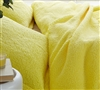 Comfiest Plush Sherpa Bedding in Vibrant Bold Yellow Color Oversized Queen Duvet Cover