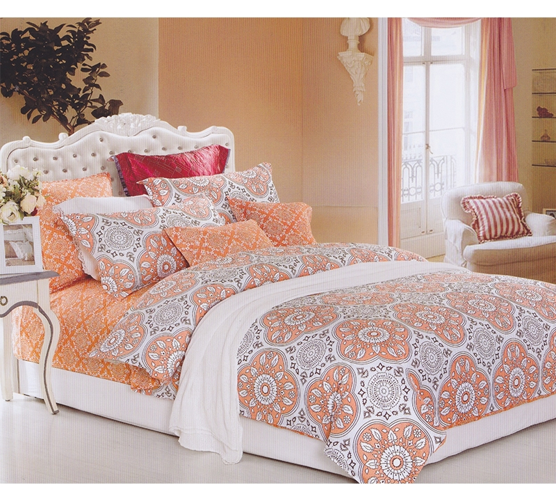 Delightful Mandala Peach Twin Comforter   Oversized Twin XL Bedding