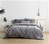 Unique Slate Black Oversized Twin XL Comforter with Super Cozy Plush and Matching Standard Shams